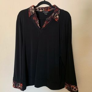 ❤️ Lane Bryant blouse with printed collar